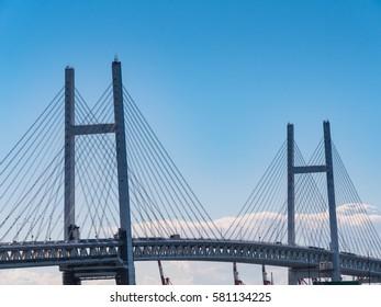 View of Yokohama bay bridge in Yokohama, Kanagawa, Japan