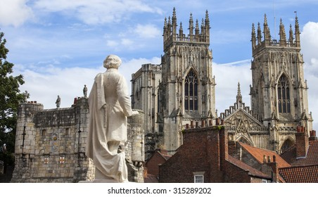 A view from the York Art Gallery taking in the sights of the William Etty statue, Bootham Bar and the towers of York Minster in York, England.