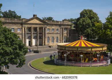 A view of the York Castle Museum and a Merry-go-round in the historic city of York, England.
