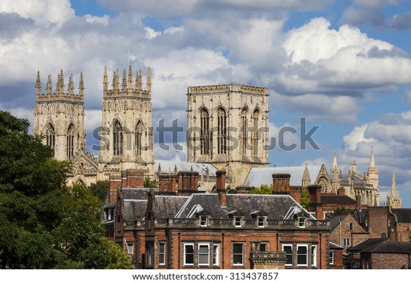 A view of York Minster over the rooftops of York, England.