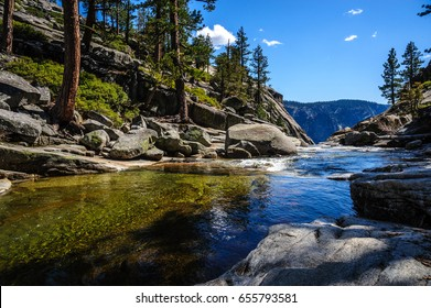 View of Yosemite Creek, just before plunging down into the upper Yosemite Fall