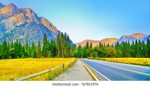 View from Yosemite Valley in Yosemite National Park at dawn in autumn.