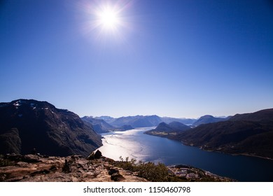 The view you get from hiking Romsdalseggen (Romsdals edge) in Norway
