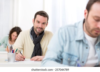 View of a Young attractive man taking competitive exam