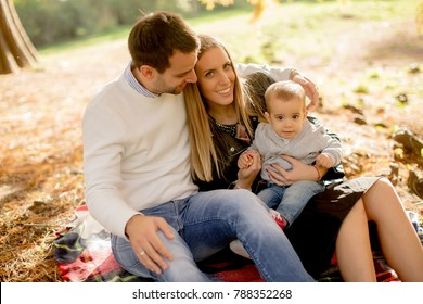 View at young family sitting on the ground in autumn park