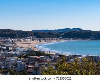 View of Yuigahama Beach from the hill in Shonan Area, Kamakura City, Kanagawa Prefecture, Japan. Yuigahama Beach in the southwestern part of Kamakura city, Kanagawa prefecture.