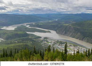 View of Yukon river and Dawsnon city, Yukon, Canada