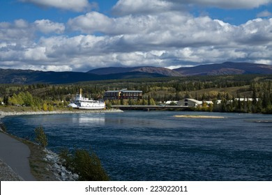 View of the Yukon River and paddlewheeler S.S. Klondike. Whitehorse, Yukon, Canada