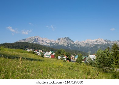 View of Zabljak town with mountains in the background, Zabljak, Montenegro, 2018