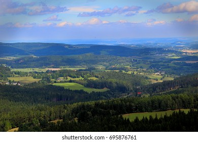 View from Zadov lookout tower - Sumava mountains, Czech republic - Shutterstock ID 695876761