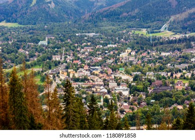 View of Zakopane and Tatra Mountains from Gubalowska. Zakopane is the Winter Capital of Poland