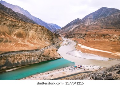 View of Zanskar River in Ladakh, India. Zanskar river is a north flowing tributary of the Indus River near Nimmu in Ladakh, North India. Zanskar River has two main branches.