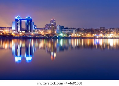 View of Zaporozhye city from Dnieper river in the evening