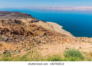 View from the Zara trail, near the Panorama Dead Sea Complex in Jordan. Zara Cliff Walk offers stunning views of the Dead Sea coast.
