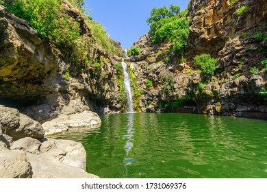 View of the Zavitan waterfall, in Yehudiya Forest Nature Reserve, the Golan Heights, Northern Israel