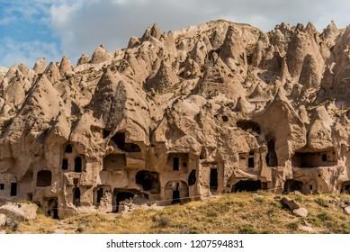 View of Zelve open air museum, Cappadocia, Turkey