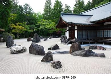 A view of the zen garden of the Kongobuji temple, Koyasan, Japan