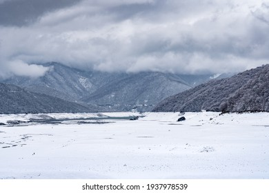 View to Zhinvali reservoir in winter, Georgia