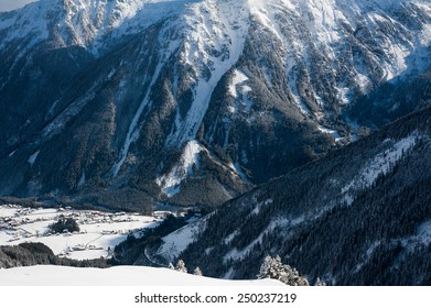 View of Zillertal Arena ski resort in Austria