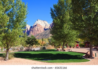 View of Zion Canyon peaks form a park in Springdale, Utah.