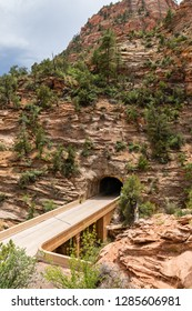 View of the Zion-Mount Carmel Tunnel from the Canyon Overlook Trail in Zion National Park, Utah