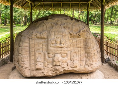 View at the Zoomorph P in ancient Maya archaeological site in Quirigua, Guatemala