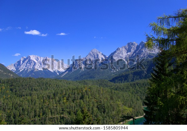 a view of the Zugspitze in the Alps