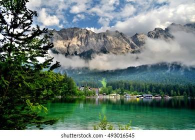 View of zugspitze from Eibsee, Garmisch-Partenkirchen, Germany