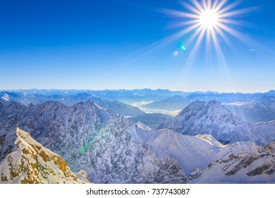 View from the Zugspitze, the highest point of Germany