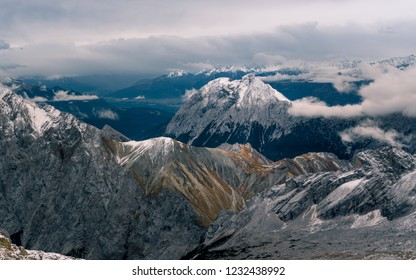 The view from Zugspitze Summit in a cloudy day