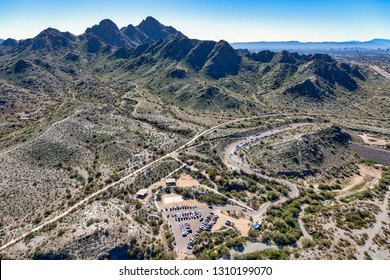 Viewed from above the Dreamy Draw recreation area looking south at Piestewa Peak and it's numerous hiking trails