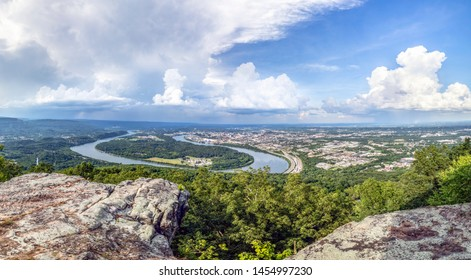 Viewed from atop historic Lookout Mountain, the city of Chattanooga is situated alongside a large bend in the Tennessee River.