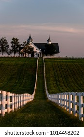 Viewed just past sunset, this is one of the most ornate barns at the famed Manchester Farm, noted for its thoroughbred race horses, just outside of Lexington in the Bluegrass region of Kentucky.