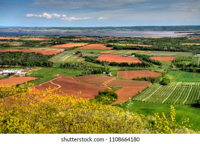 Viewing the Annapolis Valley and the Minas Basin from the Look Off in Kings County Nova Scotia.