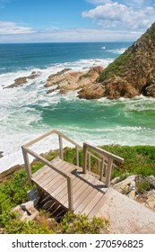 Viewing deck and ladder against beach. Shot on the Otter trail in the Tsitsikamma National Park, Garden Route area, Western Cape, South Africa.