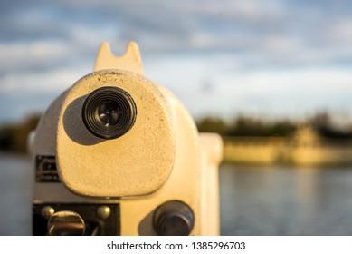 Viewing the landscape through binocular telescope