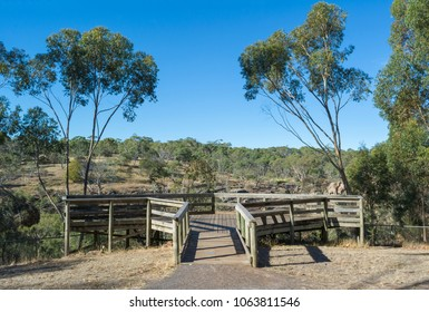 Viewing platform at Nigretta Falls during the dry season. Previously known as the Upper Wannon Falls in the Southern Grampians Shire, near Hamilton, Victoria and fed by Wannon River.