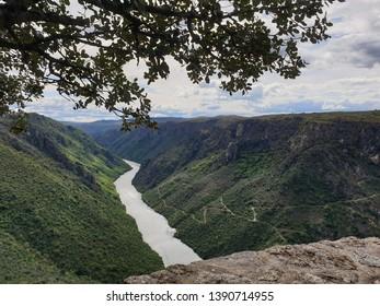 "Viewing point called ""Mirador de La Code"", at Mieza, Spain. The Duero river. Natural area named ""Las Arribes de Salamanca"", at Salamanca, Spain."