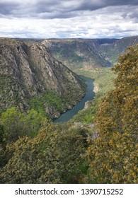 "Viewing point called ""Mirador de La Code"", at Mieza, Spain. The Duero river. Natural area named ""Las Arribes de Salamanca"", at Salamanca, Spain"