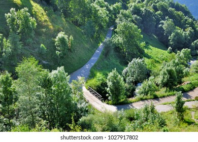 viewon little road crossing greenery  forest in mountain