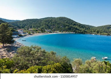 Viewpoint above Panormos bay at the island of Skopelos in Greece