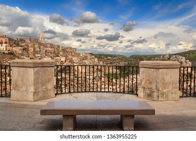 Viewpoint of the ancient town of Matera (Sassi di Matera), European Capital of Culture 2019, Basilicata region. From the balustrade in Piazzetta Pascoli there is a stunning view over the village.