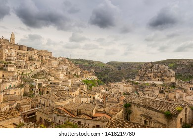 Viewpoint of the ancient town of Matera (Sassi di Matera), European Capital of Culture 2019, Basilicata region.