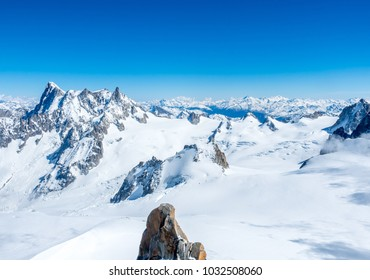 Viewpoint around top of Mont Blanc mountain peak, highest peak of Europe, in Chamoix Mont-Blanc town, with freeze snow view and cold climate, in France