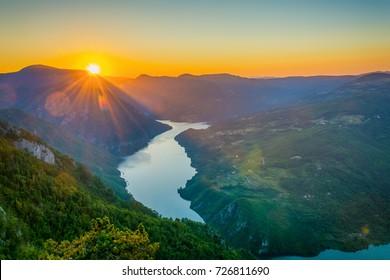 Viewpoint Banjska stena Tara mountain Serbia with sunset