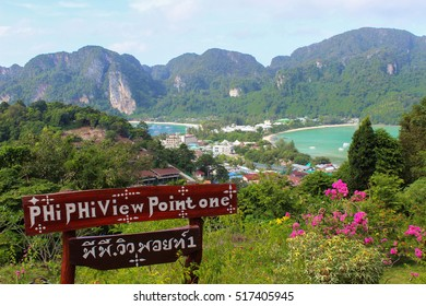a viewpoint to the bay on Phi Phi Don Island Krabi, Thailand