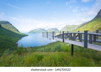Viewpoint bridge of Bergsbotn on National Tourist Route, Senja Island, Norway