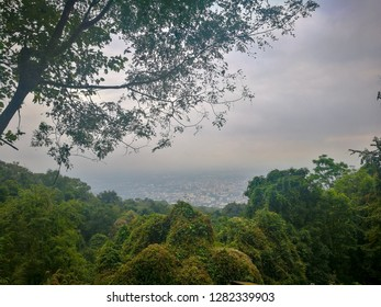 Viewpoint of Chiang Mai city see from viewpoint between travel to Doi Suthep , in the mist day on winter season, Chiang Mai, Thailand