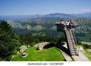 VIEWPOINT FITU, ASTURIAS, SPAIN, JULY 23, 2018: Tourists enjoying the landscape at Mirador del Fito in Asturias, Spain, Europe