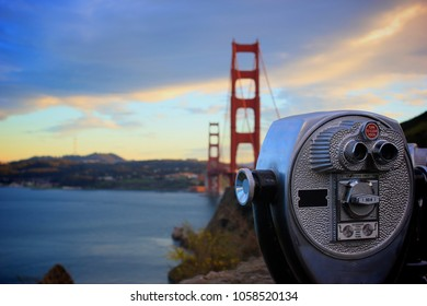 Viewpoint at the Golden Gate Bridge in San Francisco, California, USA.  Business concept of vision, discovery and success.